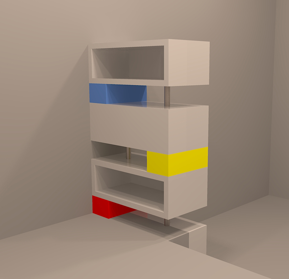 Plan 3D Meuble Mondrian